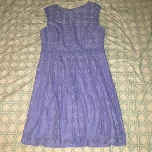 London Times Perwinkle Lace Fit & Flare Dress